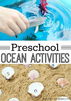 Ocean Theme Activities for Preschool. Fun hands-on learning activities for your preschool or kindergarten kids for an ocean or beach theme! - Pre-K Pages
