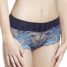 This is the spring 2013 color of the Perele's Amour shorty. It mixes delicate pink Leavers lace with modern style brown bling fabric.