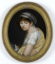 Therese Tallien in 1797/1798. Known for her diplomacy in securing the release of many French prisoners. Also for her short hair which she kept after her imprisonment and for her many wigs and new fashions.