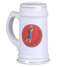 Basketball Player Jump Shot Ball Woodcut retro 18 Oz Beer Stein. Illustration of a basketball player jump shot jumper shooting jumping set inside giant ball on isolated white background. #basketball #retro #illustration