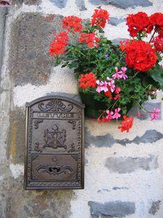 Boite aux lettres aux géraniums, Salers, Cantal, France