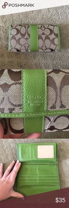 Coach lime green wallet This is an authentic coach wallet! It Is the large version  that has the check side as well as the card side. I have had for a long time and I'm just trying to get rid of it! Coach Bags Wallets