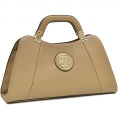 Dasein® Emblem Flat Bottom A-Symmetrical Handbag with Removable Shoulder Strap - fashlets.com
