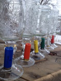 Redneck Wineglasses (minus the Shotgun Shell Charms!) DIY by gluing dollar store candlesticks to assorted mason jars. Hunting Wedding, Camo Wedding, Wedding Favors, Rustic Wedding, Our Wedding, Dream Wedding, Shotgun Shell Crafts, Shotgun Shells, Redneck Party