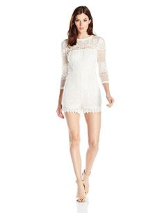 Ark  Co Womens 34 Sleeve Scallop Lace Romper Cream Small >>> Click image for more details-affiliate link.