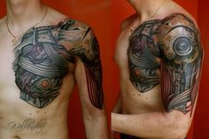 Chest Shoulder Arm Biomechanical Tattoo by Lacute Tattoo