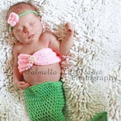 Handmade Crochet Baby Newborn Mermaid Photoprop FREE shipping Made To Order via Etsy