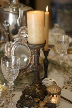 French Country Home - antique and vintage accessories add so much to a tablescape and say so much about the owner.