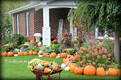 Fall Front Porch With 108 Pumpkins