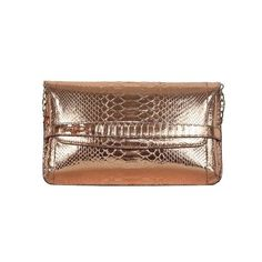 Cashhimi Seal Beach Clutch/Shoulder bag ($675) ❤ liked on Polyvore featuring bags, handbags, clutches, copper, brown handbags, snakeskin handbags, chain shoulder bag, brown shoulder bag and shoulder handbags