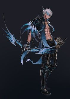 Fantasy Character Design, Character Design Inspiration, Character Concept, Character Art, Concept Art, Fantasy Weapons, Fantasy Warrior, Cute Anime Guys, Creature Concept