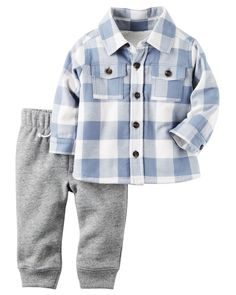 Carter's Boys 2 Piece Blue/White Plaid Botton Down Shirt and Grey Pant Set Baby Boy Tops, Carters Baby Boys, Toddler Outfits, Baby Boy Outfits, Fleece Pants, Boy Fashion, Fashion Hats, Outfit Sets, Baby Shop