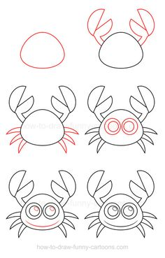 Easy way of drawing animals draw a crab easy drawings of cute animals step by step . easy way of drawing animals Doodle Drawings, Cartoon Drawings, Doodle Art, Drawing Sketches, Drawing Lessons For Kids, Drawing Tutorials For Kids, Easy Drawings For Kids, Art For Kids, Cute Animal Drawings