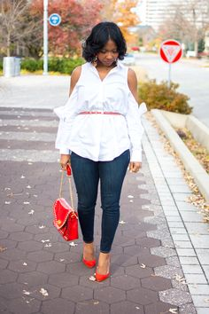 Sweenee Style, Fall Outfit Idea, White Cold Shoulder top, Express Denim Jeans, Indianapolis Style Blog, Indianapolis Fashion Blogger