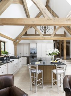 Border Oak vaulted ceiling in modern kitchen