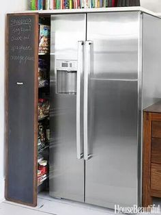 Extra storage in the space besides the fridge.