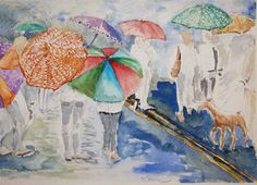 Umbrellas, watercolor on paper by Leora Wenger, 2013
