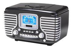 Crosley CR612-BK Corsair Retro AM/FM Dual Alarm Clock Radio with CD Player, Black