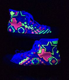 Neon Custom Converse, Glow in the Dark Chucks, Hi Top Sneakers includes Aztec print Texas Star and Dallas Skyline for Dance Raves Neon Converse, Painted Converse, Custom Converse, Painted Shoes, Custom Shoes, Custom Sneakers, Texas Star, Rave Dance, Dallas Skyline