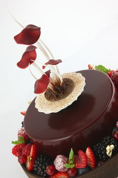 Cakes by Frank Haasnoot. Chocolate and its main ingredient, cocoa, appear to reduce risk factors for heart disease. Flavanols in cocoa beans have antioxidant effects that reduce cell damage implicated in heart disease. Patisserie Fine, Patisserie Design, Decoration Patisserie, Gourmet Desserts, Fancy Desserts, Delicious Desserts, Plated Desserts, Cupcake Recipes, Cupcake Cakes