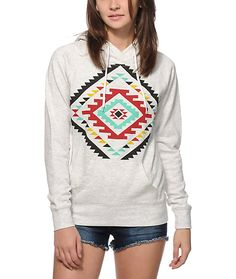 This soft and comfortable fleece hoodie is made with a long slim fit that is great for layering, and features a colorful tribal graphic at the front for added style.