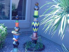 recycled glass to garden totems...