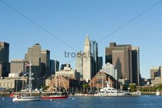 Skyline with Custom House Tower Financial District Long Wharf view from Boston Harbour Boston Massachusetts New England USA North America