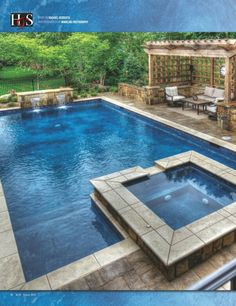 SwimThings designed and installed a heated gunite pool with a marbled midnight blue finish. Frost-proof ceramic tiles were used at the waterline while a natural travertine tile border frames the elegant pool and spa. Swimming Pool Landscaping, Small Backyard Pools, Backyard Pool Designs, Swimming Pool Designs, Landscaping Ideas, Pool Spa, Diy Pool, Living Pool, Geometric Pool