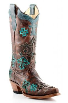 Women's Brown Corral Boots Turquoise Crosses Western Wear