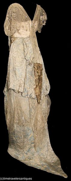 """ca 1915 dress, labeled """"Simeose, 535 5th Ave., N.Y.""""   Back"""