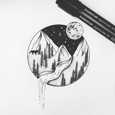 Circle landscape with dripping water and moon cute drawings, small drawings, pen drawings, Small Drawings, Easy Drawings, Pencil Drawings, Cool Drawings Tumblr, Cool Art Drawings, Circle Drawing, Moon Drawing, Drawing Art, Art Du Croquis
