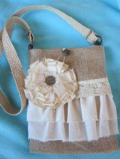 Shabby Chic Burlap Purse Bag Wedding Bag OOAK 03. $25.00, via Etsy.