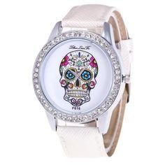 7ca878ecbbc Men s Watch Quartz Dial Diamond Leather Analog Wrist Skull Head Watch Round  Case Watch Unisex Sport Watch relogio masculino