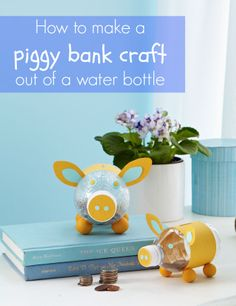 Easy, cute craft idea that's great for kids: How to make a piggy bank out of a water bottle (with free printable templates!)
