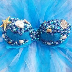 Blue Seashell Mermaid Rave Bra Rave Outfit Outfit by PasseDesigns, $60.00