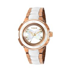 "Xtous Lady watch. 316L stainless steel IPRG case and bracelet (IPRG: Ionic Plated 18kt rose Gold). Case Ø: 39mm. - 1 9/16"". Mineral crystal. Water resistant 10ATM. Quartz movement. Butterfly with pushers buckle.TOUS Washington DC"
