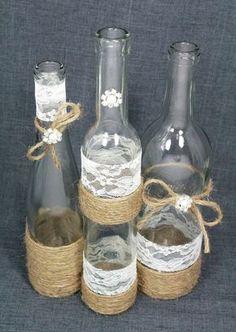 ideas diy wedding rustic centerpieces wine bottles for 2019 Twine Wine Bottles, Wine Bottle Centerpieces, Wedding Wine Bottles, Glass Bottles, Wedding Reception Centerpieces, Rustic Wedding Centerpieces, Diy Centerpieces, Wedding Decorations, Deco Table Champetre