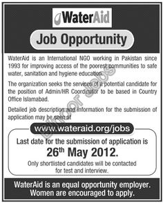 Admin/HR Coordinator Required in an NGO for its office in Islamabad