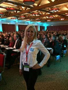 """Dr. Krista about to explain the """"Posture of Success"""" to a group of business men and women!"""