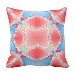 Fractal Kaleidoscope in Red & Blue #2 Throw Pillow - red gifts color style cyo diy personalize unique