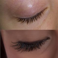 Eyelash extensions before and after. J curls, Cat eye.