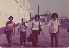 Morrie Rosenblatt, unknown,  (identified as Seymour's brother:  Paul Pector.... Lane Kaplan & Seymour Pector walking north on the east side of old Comiskey Park....circa 1975