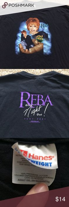 Reba McEntire concert tshirt Anyone looking for vintage concert shirts? I've got them! This is from a concert I went to in 2001. The shirt is in pristine shape and not at all faded. She's definitely ready to come out of hiding! Anyone heading to Vegas to see her and need something to wear?? Hanes Tops Tees - Short Sleeve