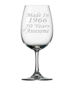 A wonderful 50th birthday gift idea for her or him! 50th birthday etched wine glasses, available in a stemmed or stemless wine glass by PersonalizedGiftsUS