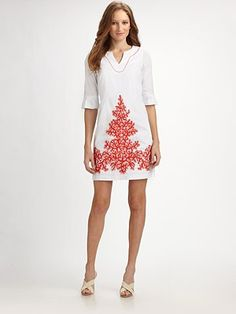 Lilly Pulitzer goes winter chic with a white tunic dress