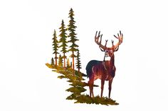 Excited to share this item from my shop: Whitetail Buck Deer w/ Mountain & Trees Metal Wall Art Outdoor Metal Wall Art, Metal Tree Wall Art, Metal Art, Cnc, Hunting Lodge Decor, Mountain Cabin Decor, Buck Deer, Tree Artwork, Whitetail Bucks
