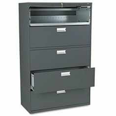 * 600 Series Five-Drawer Lateral File, 42w x19-1/4d, Charcoal by MotivationUSA. $1292.86. * Counterweight included, where applicable, to meet ANSI/BIFMA stability requirements. Lock secures both sides of drawer and heavy-duty, three-part, telescoping, steel ball bearing suspension offers smooth drawer operation. Mechanical interlock allows only one drawer to be open at a time to inhibit tipping. Four adjustable leveling glides help compensate for uneven flooring. Drawe...