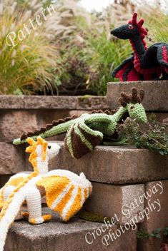Dragon pattern, Triplet Dragon Crochet Pattern