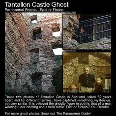 These two photos of Tantallon Castle in Scotland, taken 32 years apart and by different families, have captured something mysterious, yet very similar. It is believed the ghostly figure in both is. Haunted House Stories, Real Haunted Houses, Haunted Places, Scary Places, Creepy Things, Scary Ghost Pictures, Ghost Photos, Short Creepy Stories, Ghost Stories
