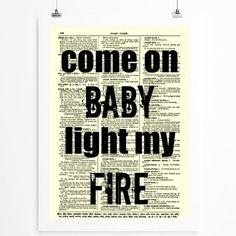 Come On Baby Light My Fire The Doors Lyrics On Antique Dictionary Page By Reimaginationprints Light My Fire Song Lyric Quotes Songs To Sing